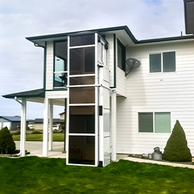Outdoor white Genesis Enclosure at family residence