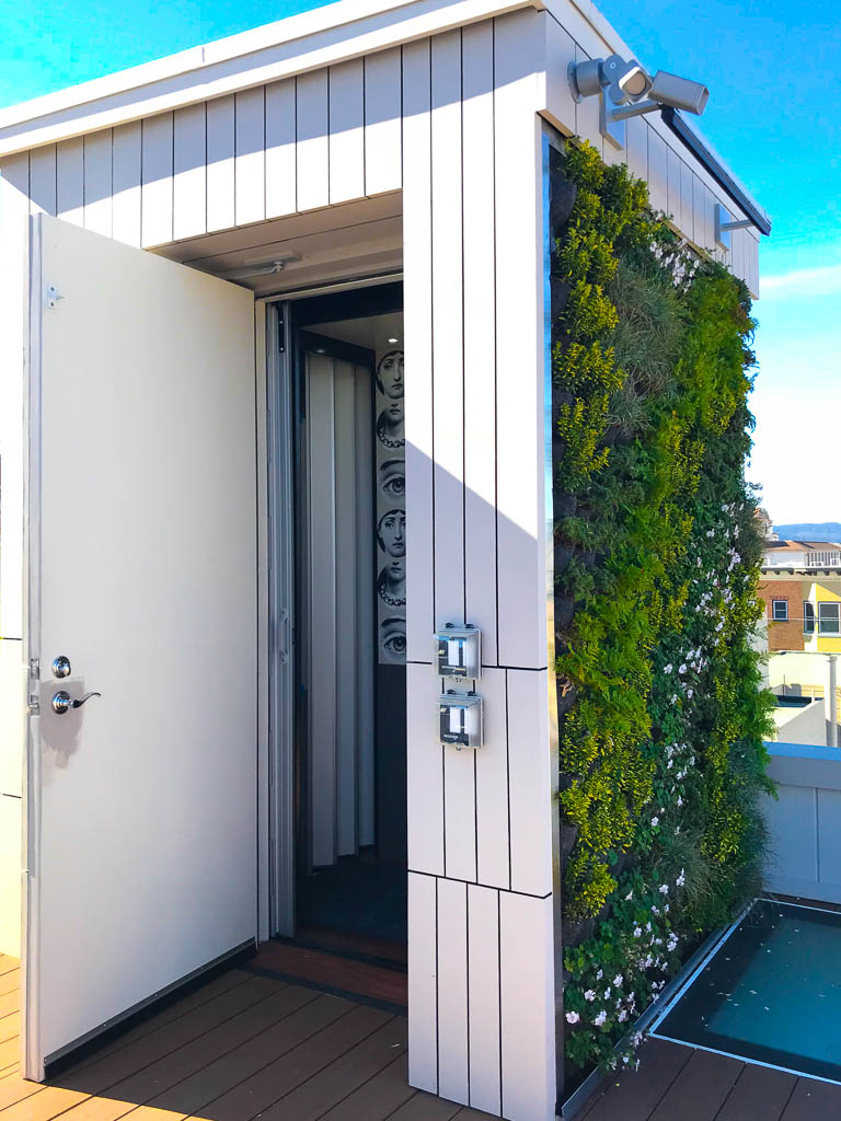 Elvoron Home Elevator on rooftop deck with leafy exterior