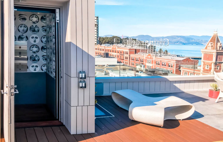 Elvoron Home Elevator on rooftop deck with view over San Francisco