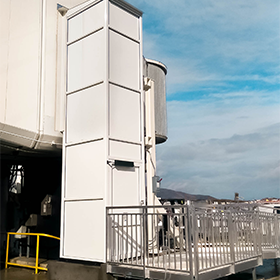 White Outdoor Genesis Enclosure at airport